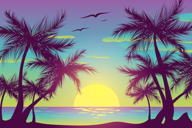 Palm silhouettes and birds in the sky background