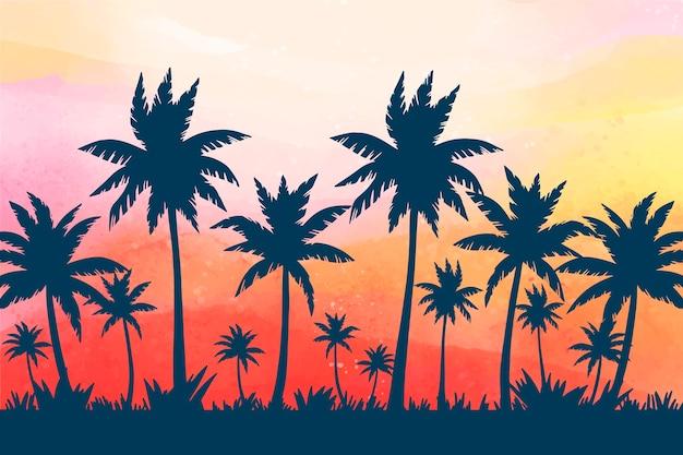 Tema della carta da parati delle siluette della palma