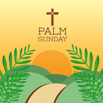 Palm sunday cross hills sun branch card decoration