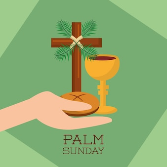 Palm sunday hand holding bread cup jesus christ