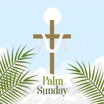 十字架とパーム日曜日のイラスト