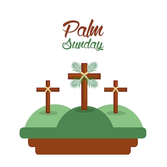 Palm sunday three crosses in the hills card
