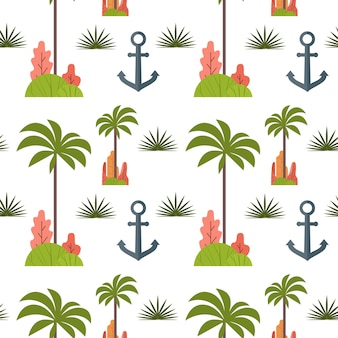 Palm tree and anchor seamless pattern