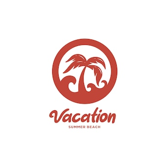 Palm tree on beach logo template flat icon illustration badge with sea wave