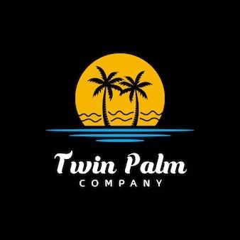 Силуэт пляжа пальмового дерева для дизайна логотипа отеля, ресторана, отпуска, отпуска