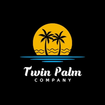 Palm tree beach silhouette for hotel restaurant vacation holiday travel logo design