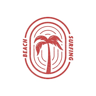 ヤシの木のビーチサーフィンのロゴバッジもtシャツのイラストに適しています