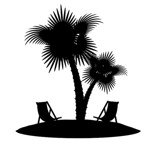 白い背景で隔離のヤシの木の黒い輪郭のシルエット