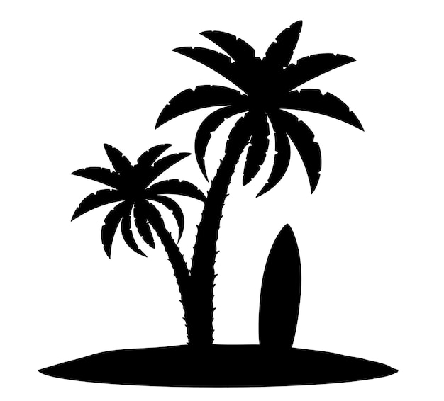 Palm tree black outline silhouette isolated on white background