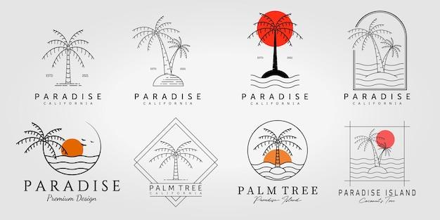 Пальма кокосовый логотип линии искусства векторные иллюстрации дизайн