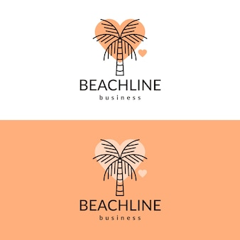 Palm tree heart logo design