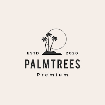 Palm tree hipster vintage logo icon