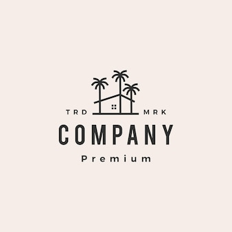 Palm tree house coconut hipster vintage logo