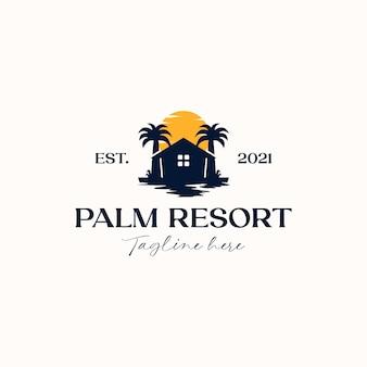 Palm tree house logo template