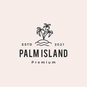 Хипстерский винтажный логотип острова пальм