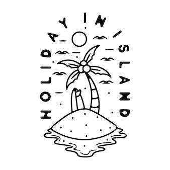 ヤシの木の島のモノラインヴィンテージ屋外ロゴデザイン