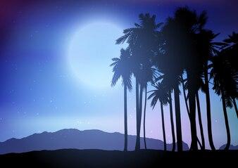 Palm tree landscape at night