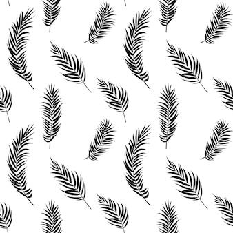 ヤシの木の葉のシルエットのシームレスパターン