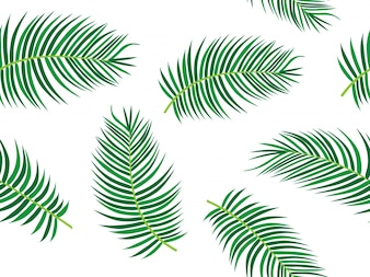 Palm Tree Leaf Tropical Theme Seamless Pattern
