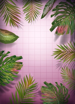 Palm tree leaves poster template. tropical frame with exotic banana, monstera plants for banner, flyer. jungle summer floral design. vector illustration