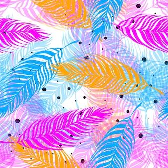 ヤシの木は熱帯のシームレスなパターンを残します。ピンク、ブルー、花のエキゾチックな無限の背景。白い背景の上の熱帯植物のピンク、青の枝。