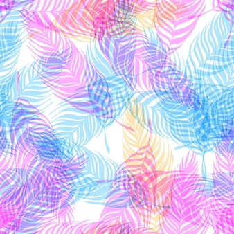 Palm tree leaves tropical seamless pattern. pink, blue, floral exotic endless background. pink, blue branches of tropical plants on a white background.