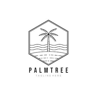 ヤシの木の線画のロゴのベクトルイラストデザイン。ヤシの木の輪郭のエンブレム。ココナッツの木のアイコン