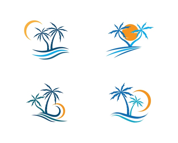 Palm tree  logo template illustration vector