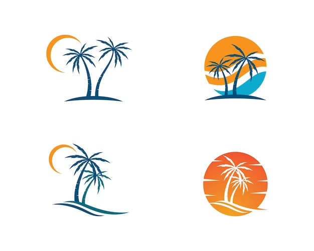 Palm tree  logo template illustration vector