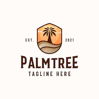 Palm tree logo template isolated in white background