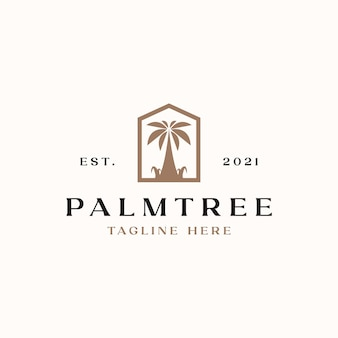 Palm tree logo template isolated