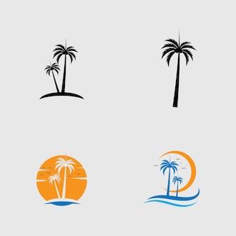 Пальмовое дерево логотип шаблон векторное изображение