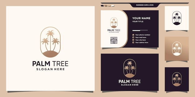 Palm tree logo template with unique modern concept and business card design premium vector