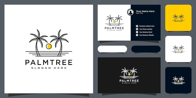 Palm tree logo vector design and business card