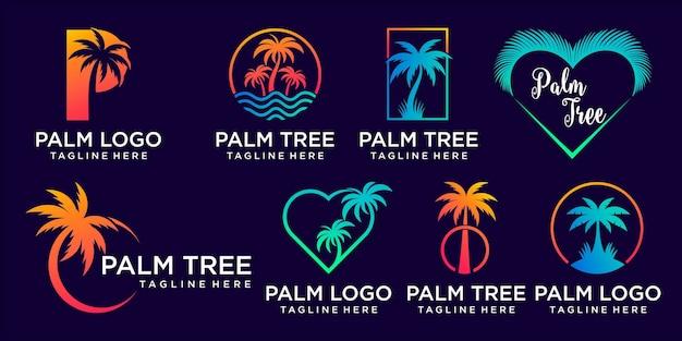 ヤシの木のロゴベクトルアイコンイラスト