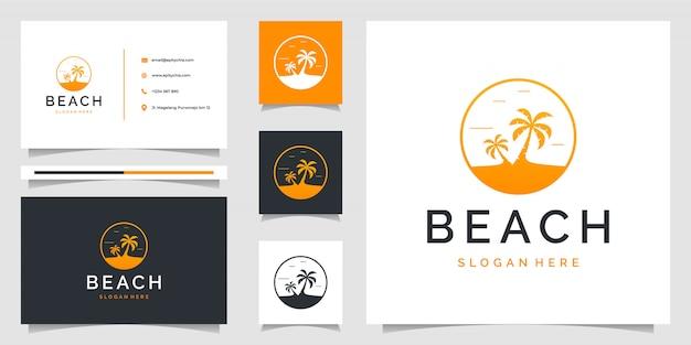 ビーチをテーマにした名刺とヤシの木のロゴ。ロゴはブランディング、広告、休日、休暇に使用できます