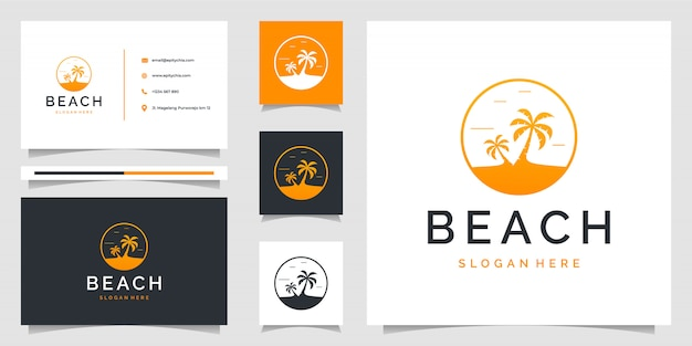 Palm tree logo with beach theme and business card. logo can be use for branding, ads, holiday, and vacation
