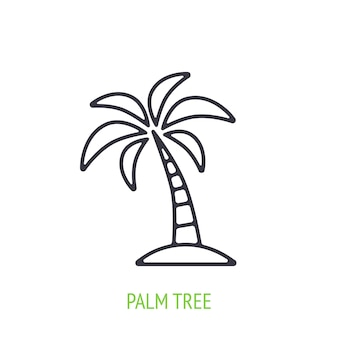 Palm tree outline icon vector illustration tropical and island forest Premium Vector