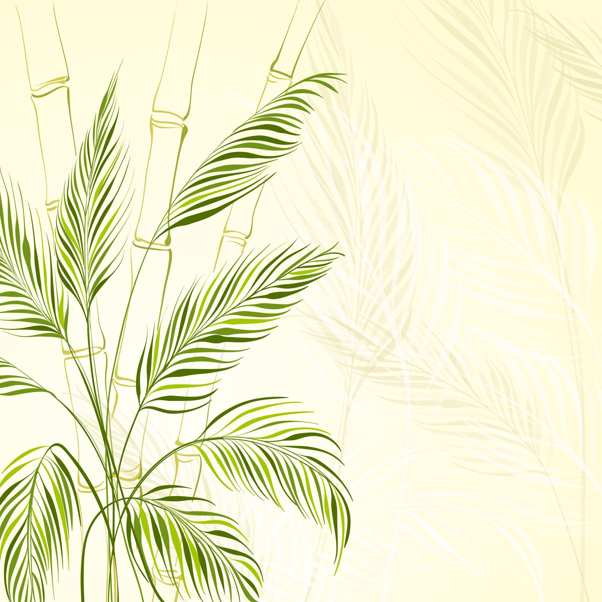 Palm tree over bamboo forest