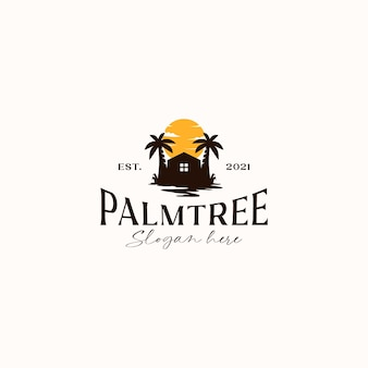 Palm tree resort sunset logo template isolated in white background