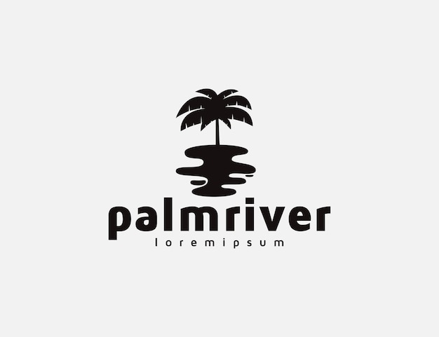 Palm tree and river logo illustration