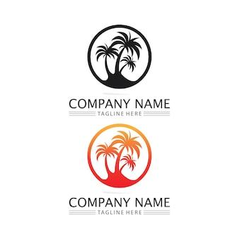 Пальма летом логотип шаблон векторные иллюстрации
