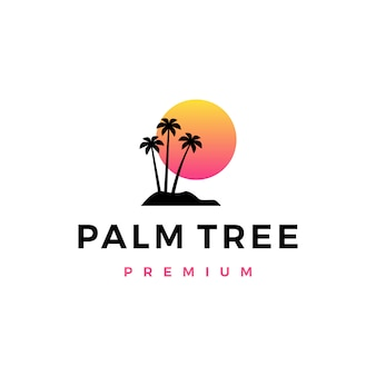 Palm tree sunset logo icon illustration