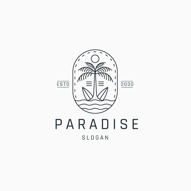 Palm tree and surf board logo icon design template flat vector