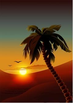Palm tree on tropical island
