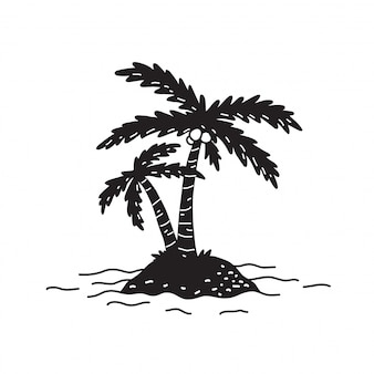 Palm tree vector island coconut ocean