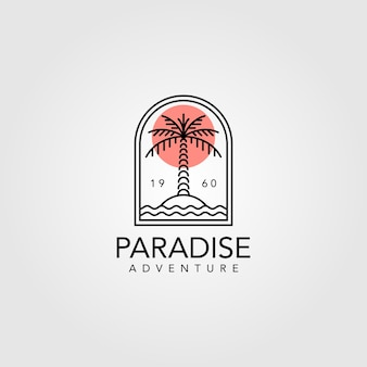 Palm tree vintage logo  design, line art palm tree logo design