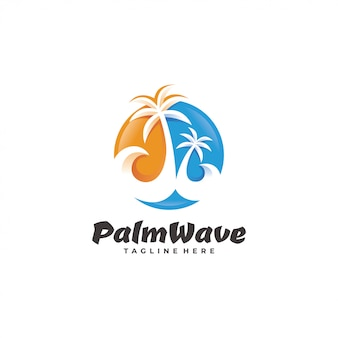 Palm tree wave beach logo