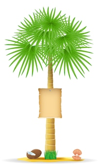 Palm tree with a paper sign vector illustration