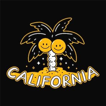 笑顔のココナッツとヤシの木。カリフォルニアの引用。ベクトル手描き落書きスタイルの漫画のキャラクターイラスト。手のひら、笑顔、ステッカー、ポスター、tシャツのカリフォルニアテキストフェイスプリントデザイン